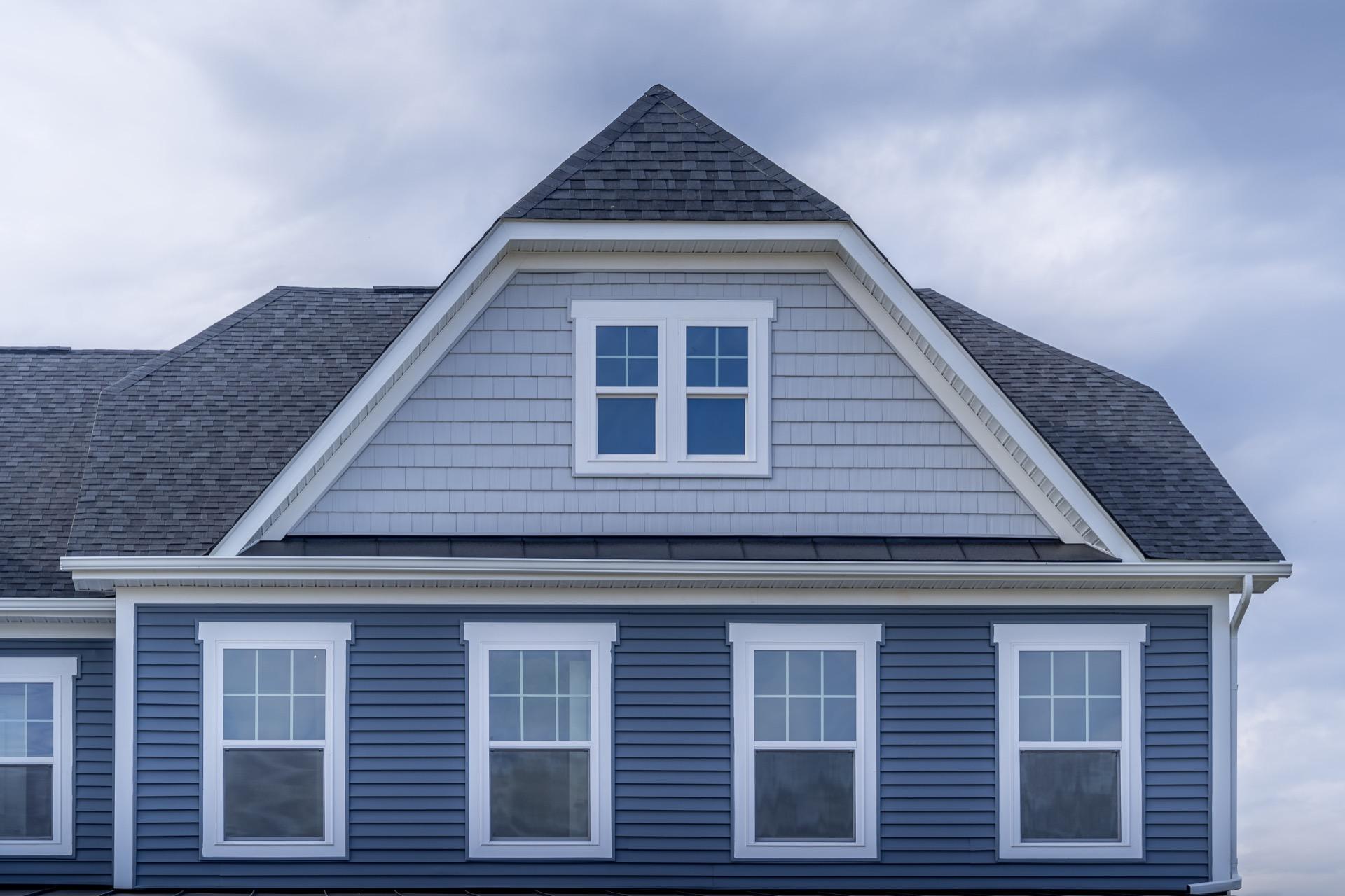Single hung windows on modern home